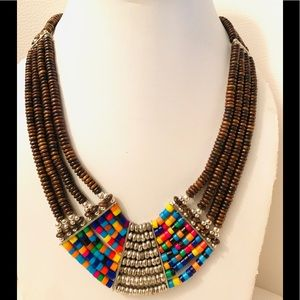 Multi strand African brown beaded necklace